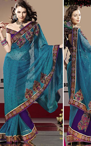 Purple and Blue Georgette Saree